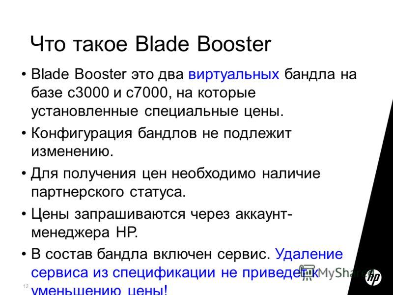 12 Blade Booster это два виртуальных бандла на базе c3000 и c7000, на которые установленные специальные цены. Конфигурация бандлов не подлежит изменению. Для получения цен необходимо наличие партнерского статуса. Цены запрашиваются через аккаунт- мен