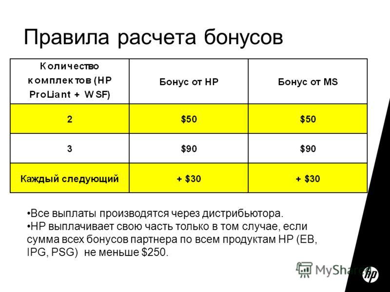 Правила расчета бонусов Все выплаты производятся через дистрибьютора. HP выплачивает свою часть только в том случае, если сумма всех бонусов партнера по всем продуктам HP (EB, IPG, PSG) не меньше $250.