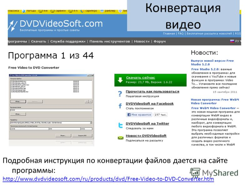 Подробная инструкция по конвертации файлов дается на сайте программы: http://www.dvdvideosoft.com/ru/products/dvd/Free-Video-to-DVD-Converter.htm Конвертация видео