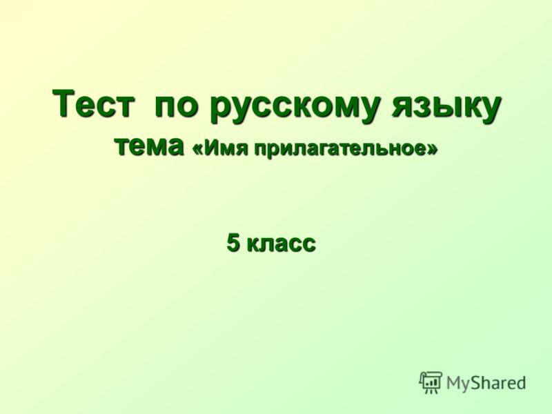 Тест по русскому языку тема «Имя прилагательное» 5 класс
