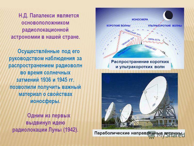 Н.Д. Папалекси является основоположником радиолокационной астрономии в нашей стране. Осуществлённые под его руководством наблюдения за распространением радиоволн во время солнечных затмений 1936 и 1945 гг. позволили получить важный материал о свойств