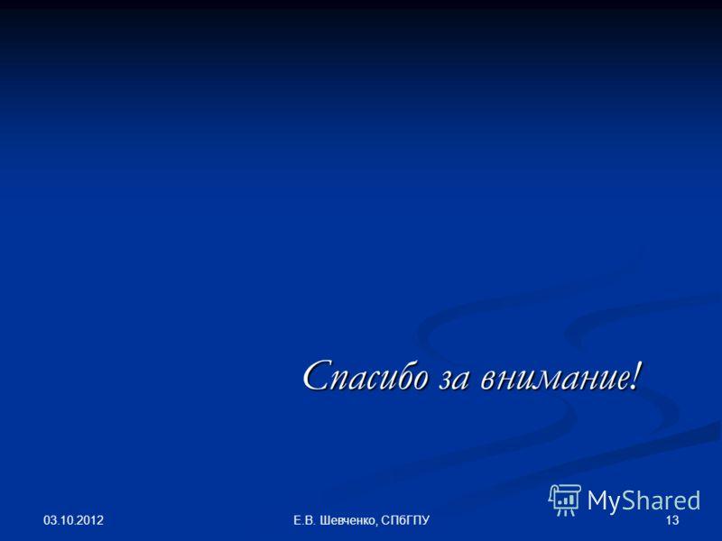 08.08.2012 13Е.В. Шевченко, СПбГПУ Спасибо за внимание!