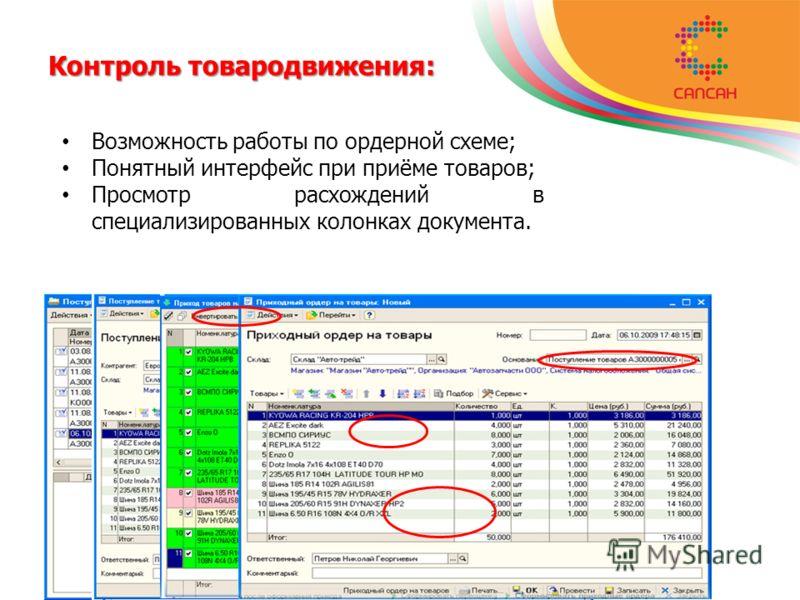 Контроль товародвижения: Возможность работы по ордерной схеме; Понятный интерфейс при приёме товаров; Просмотр расхождений в специализированных колонках документа.