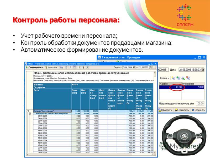 Контроль работы персонала: Учёт рабочего времени персонала; Контроль обработки документов продавцами магазина; Автоматическое формирование документов.