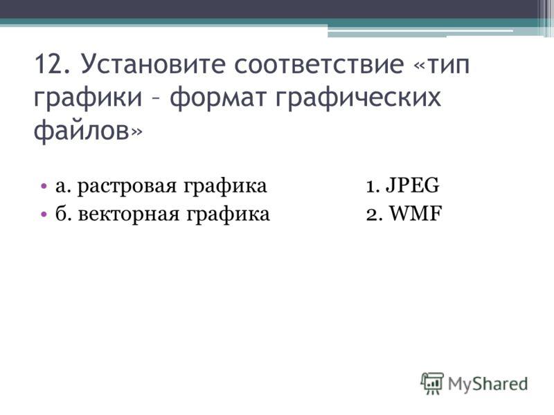 12. Установите соответствие «тип графики – формат графических файлов» а. растровая графика1. JPEG б. векторная графика2. WMF