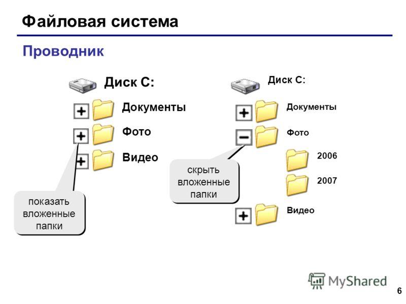 6 Файловая система Проводник Диск C: Документы Фото Видео 2006 2007 Диск C: Документы Фото Видео показать вложенные папки скрыть вложенные папки