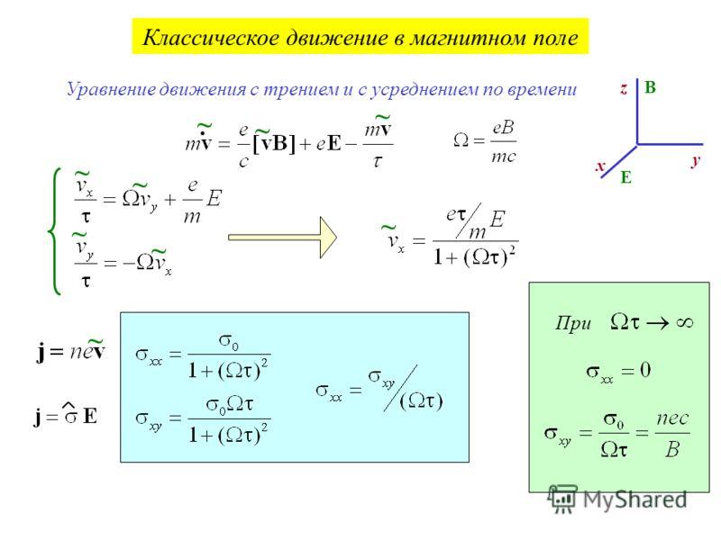 Классическое движение в магнитном поле. ~ ~ ~ Уравнение движения с трением и с усреднением по времени ~ ~ ~ ~ ~ z y x B E ~ При