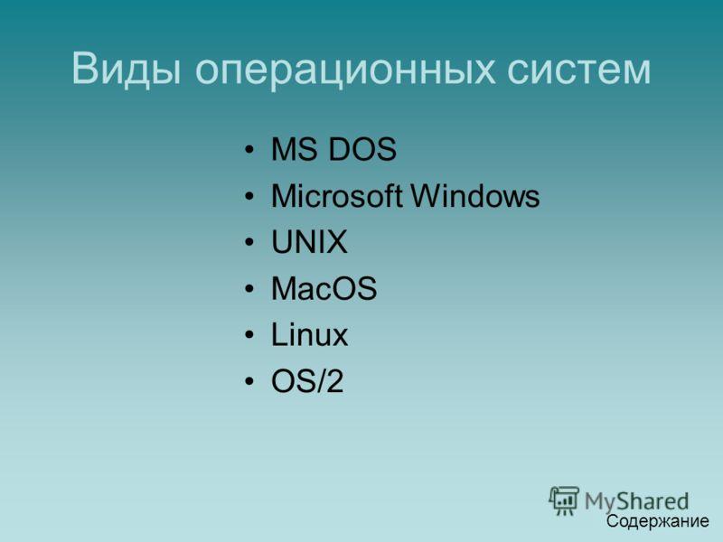 Виды операционных систем MS DOS Microsoft Windows UNIX MacOS Linux OS/2 Содержание