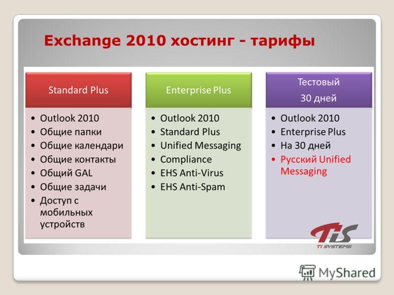 Exchange 2010 хостинг - тарифы