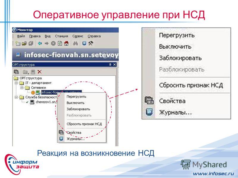 Оперативное управление при НСД Реакция на возникновение НСД