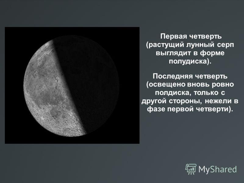 Первая четверть (растущий лунный серп выглядит в форме полудиска). Последняя четверть (освещено вновь ровно полдиска, только с другой стороны, нежели в фазе первой четверти).