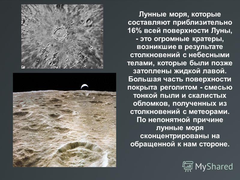 Лунные моря, которые составляют приблизительно 16% всей поверхности Луны, - это огромные кратеры, возникшие в результате столкновений с небесными телами, которые были позже затоплены жидкой лавой. Большая часть поверхности покрыта реголитом - смесью