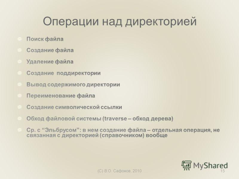 (C) В.О. Сафонов, 201015 Операции над директорией