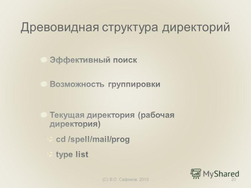 (C) В.О. Сафонов, 201020 Древовидная структура директорий