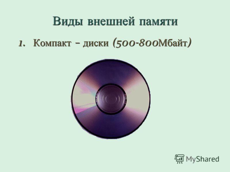 Виды внешней памяти 1. Компакт – диски (500-800 Мбайт )
