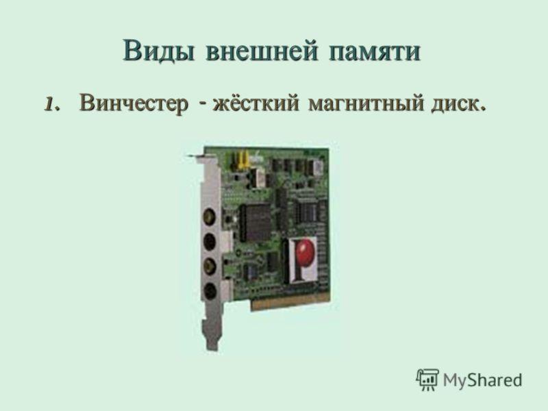 Виды внешней памяти 1. Винчестер - жёсткий магнитный диск.