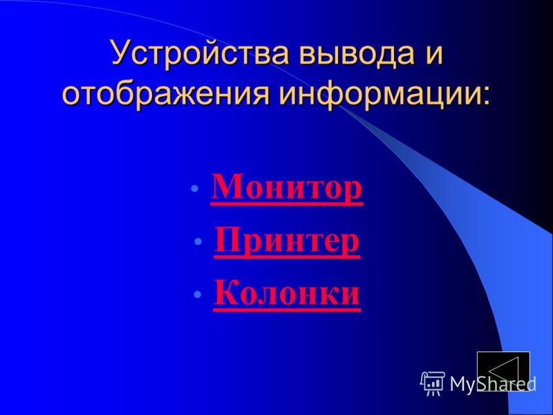 Устройства вывода и отображения информации: Монитор Принтер Колонки