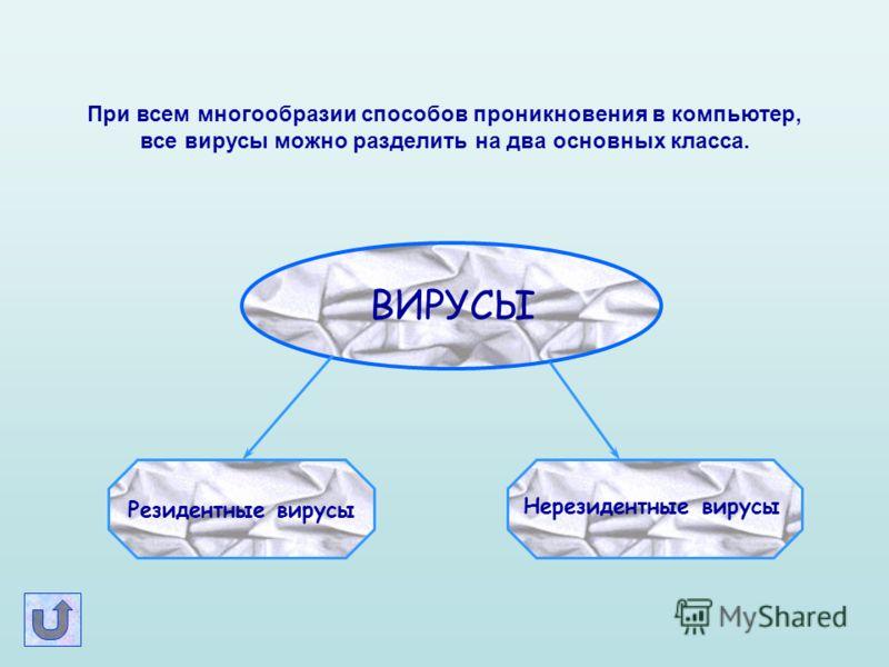 При всем многообразии способов проникновения в компьютер, все вирусы можно разделить на два основных класса. ВИРУСЫ Резидентные вирусы Нерезидентные вирусы