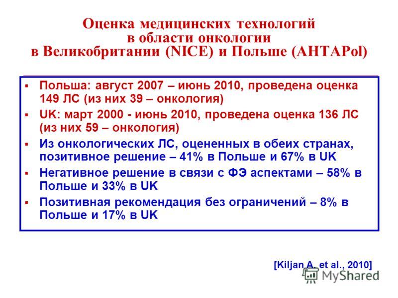 Оценка медицинских технологий в области онкологии в Великобритании (NICE) и Польше (AHTAPol) Польша: август 2007 – июнь 2010, проведена оценка 149 ЛС (из них 39 – онкология) UK: март 2000 - июнь 2010, проведена оценка 136 ЛС (из них 59 – онкология) И