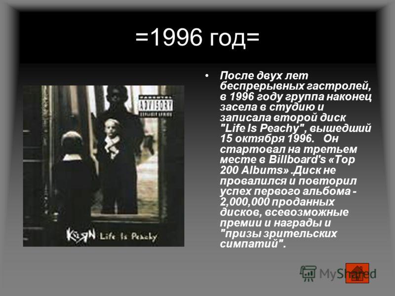 =1996 год= После двух лет беспрерывных гастролей, в 1996 году группа наконец засела в студию и записала второй диск