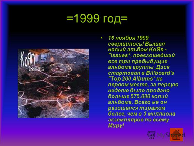 =1999 год= 16 ноября 1999 свершилось! Вышел новый альбом KoЯn -