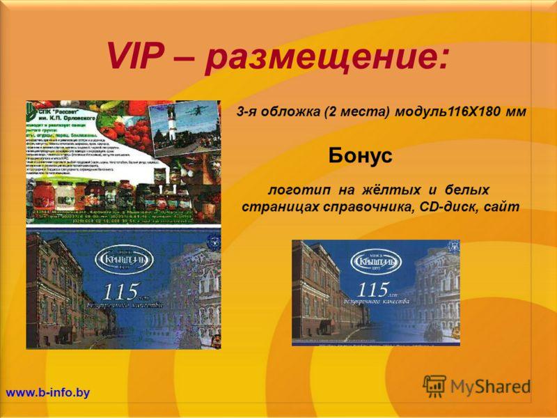 VIP – размещение: логотип на жёлтых и белых страницах справочника, CD-диск, сайт Бонус 3-я обложка (2 места) модуль116Х180 мм