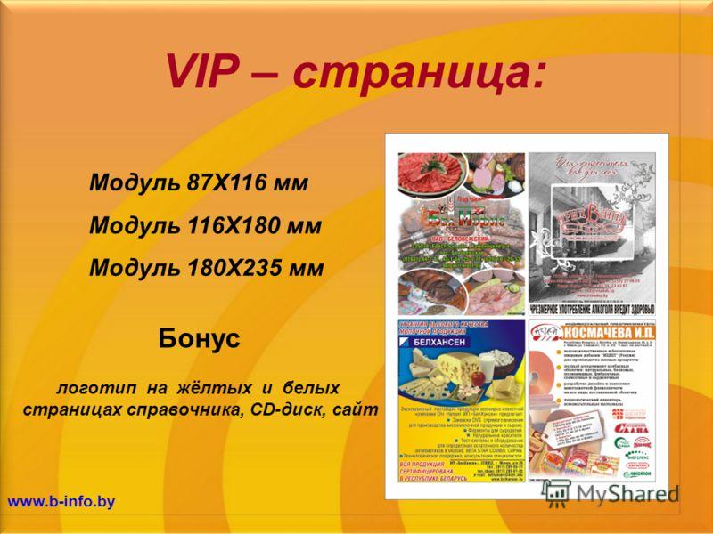 VIP – страница: Модуль 87Х116 мм Модуль 116Х180 мм Модуль 180Х235 мм логотип на жёлтых и белых страницах справочника, CD-диск, сайт Бонус