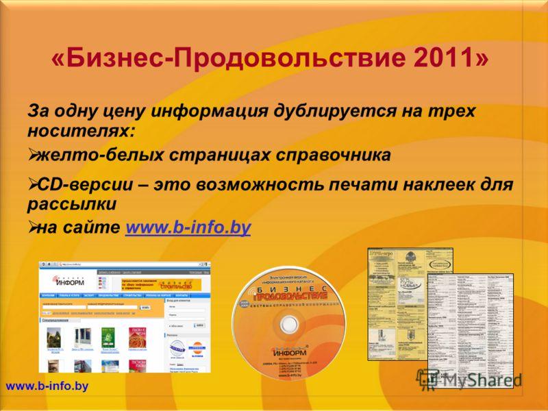 www.b-info.by «Бизнес-Продовольствие 2011» За одну цену информация дублируется на трех носителях: желто-белых страницах справочника CD-версии – это возможность печати наклеек для рассылки на сайте www.b-info.by