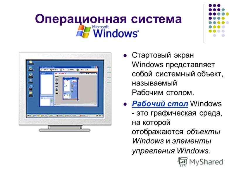 Операционная система Стартовый экран Windows представляет собой системный объект, называемый Рабочим столом. Рабочий стол Windows - это графическая среда, на которой отображаются объекты Windows и элементы управления Windows.