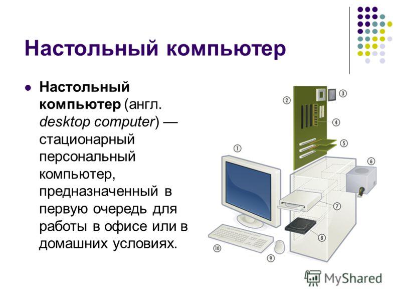 Настольный компьютер Настольный компьютер (англ. desktop computer) стационарный персональный компьютер, предназначенный в первую очередь для работы в офисе или в домашних условиях.