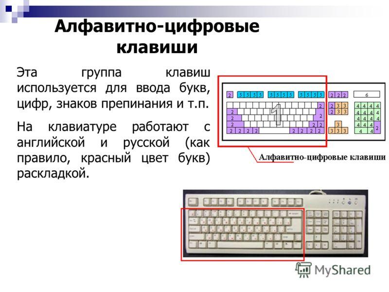 Алфавитно-цифровые клавиши Эта группа клавиш используется для ввода букв, цифр, знаков препинания и т.п. На клавиатуре работают с английской и русской (как правило, красный цвет букв) раскладкой.