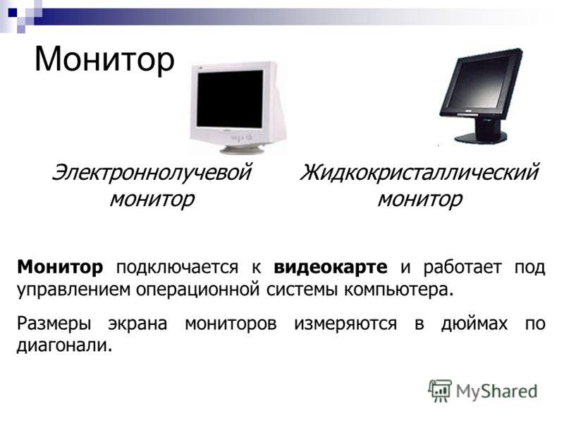 Монитор Монитор подключается к видеокарте и работает под управлением операционной системы компьютера. Размеры экрана мониторов измеряются в дюймах по диагонали. Электроннолучевой монитор Жидкокристаллический монитор