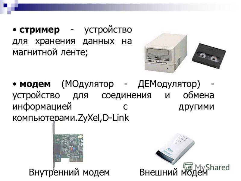 стример - устройство для хранения данных на магнитной ленте; Внешний модем модем (МОдулятор - ДЕМодулятор) - устройство для соединения и обмена информацией с другими компьютерами.ZyXel,D-Link Внутренний модем