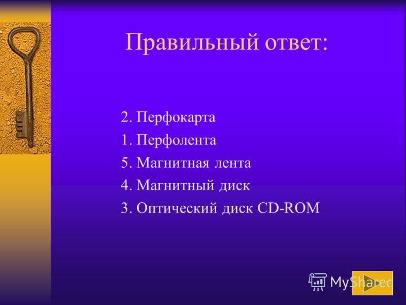 Расположить приведённые названия носителей информации в хронологическом порядке их применения в электронно- вычислительных машинах: 1. Перфолента 2. Перфокарта 3. Оптический диск CD-ROM 4. Магнитный диск 5. Магнитная лента Ответ