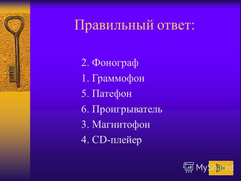 Расположите средства работы с информацией в порядке их появления: 1. Граммофон 2. Фонограф 3. Магнитофон 4. CD-плейер 5. Патефон 6. Проигрыватель Ответ