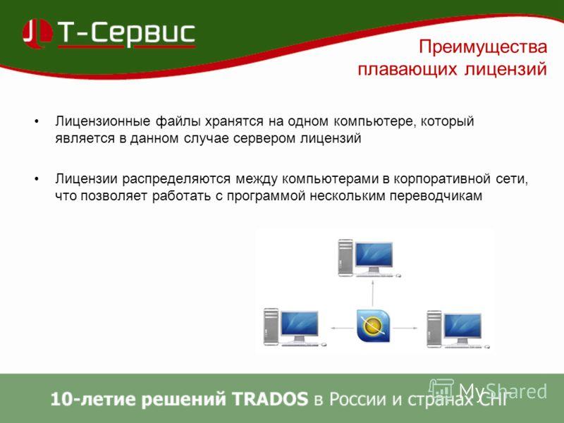 Преимущества плавающих лицензий Лицензионные файлы хранятся на одном компьютере, который является в данном случае сервером лицензий Лицензии распределяются между компьютерами в корпоративной сети, что позволяет работать с программой нескольким перево