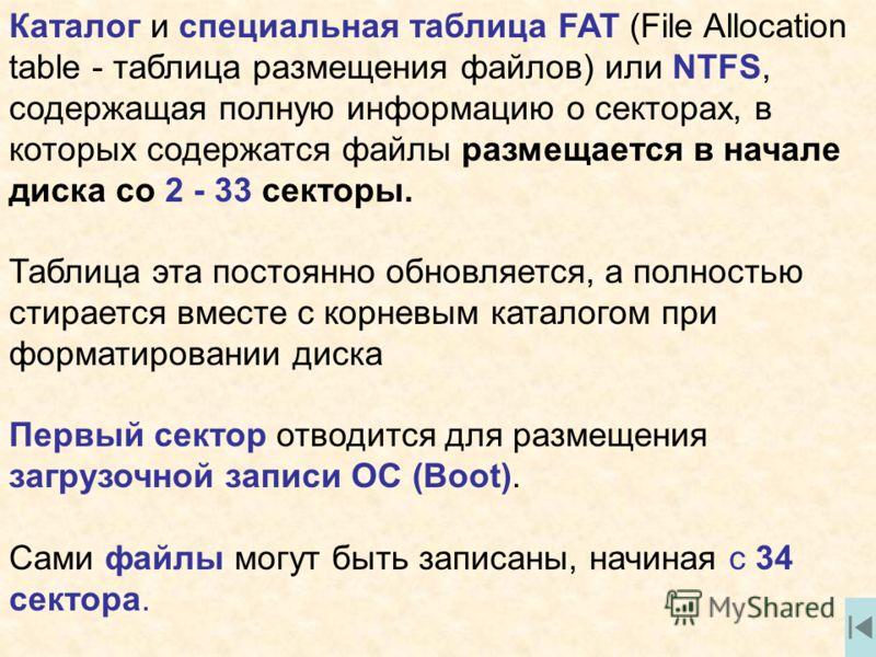 Каталог и специальная таблица fat file