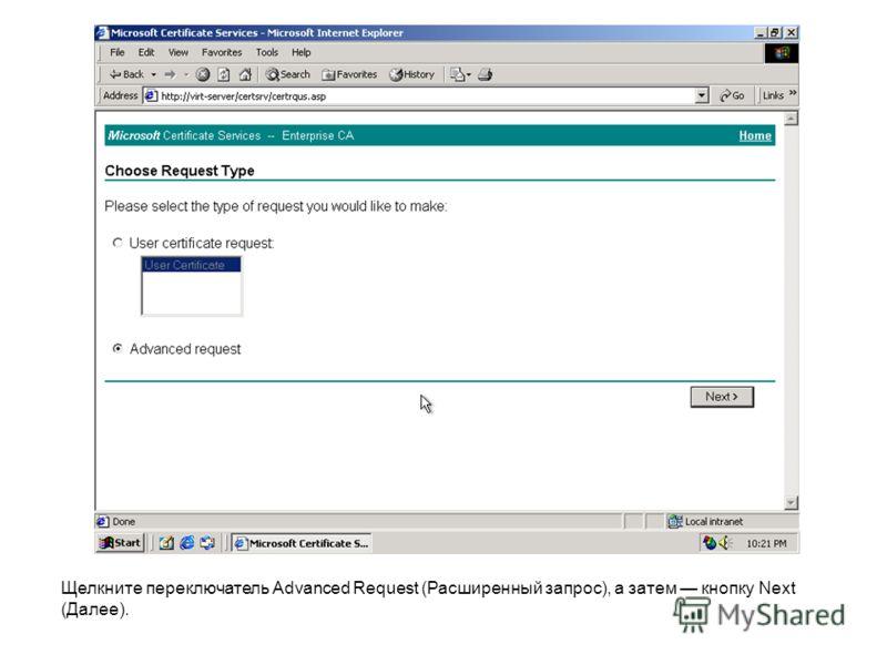 Щелкните переключатель Advanced Request (Расширенный запрос), а затем кнопку Next (Далее).