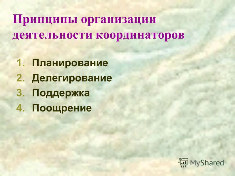 Принципы организации деятельности координаторов 1.Планирование 2.Делегирование 3.Поддержка 4.Поощрение