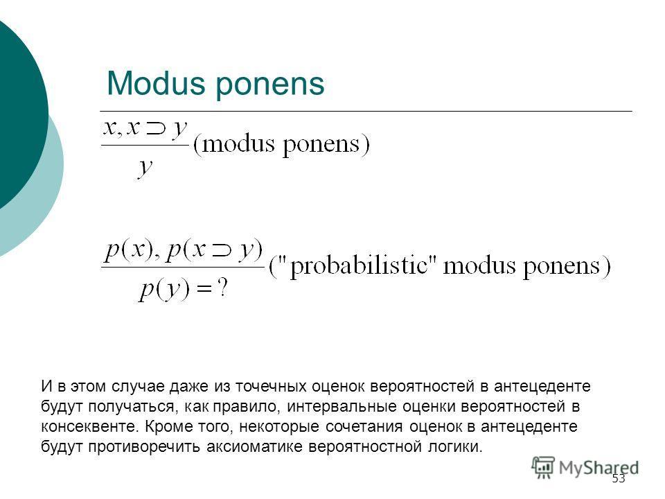 53 Modus ponens И в этом случае даже из точечных оценок вероятностей в антецеденте будут получаться, как правило, интервальные оценки вероятностей в консеквенте. Кроме того, некоторые сочетания оценок в антецеденте будут противоречить аксиоматике вер