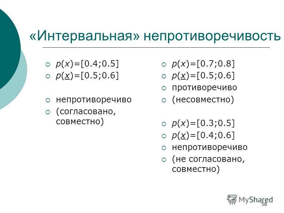 58 «Интервальная» непротиворечивость p(x)=[0.4;0.5] p(x)=[0.5;0.6] непротиворечиво (согласовано, совместно) p(x)=[0.7;0.8] p(x)=[0.5;0.6] противоречиво (несовместно) p(x)=[0.3;0.5] p(x)=[0.4;0.6] непротиворечиво (не согласовано, совместно)