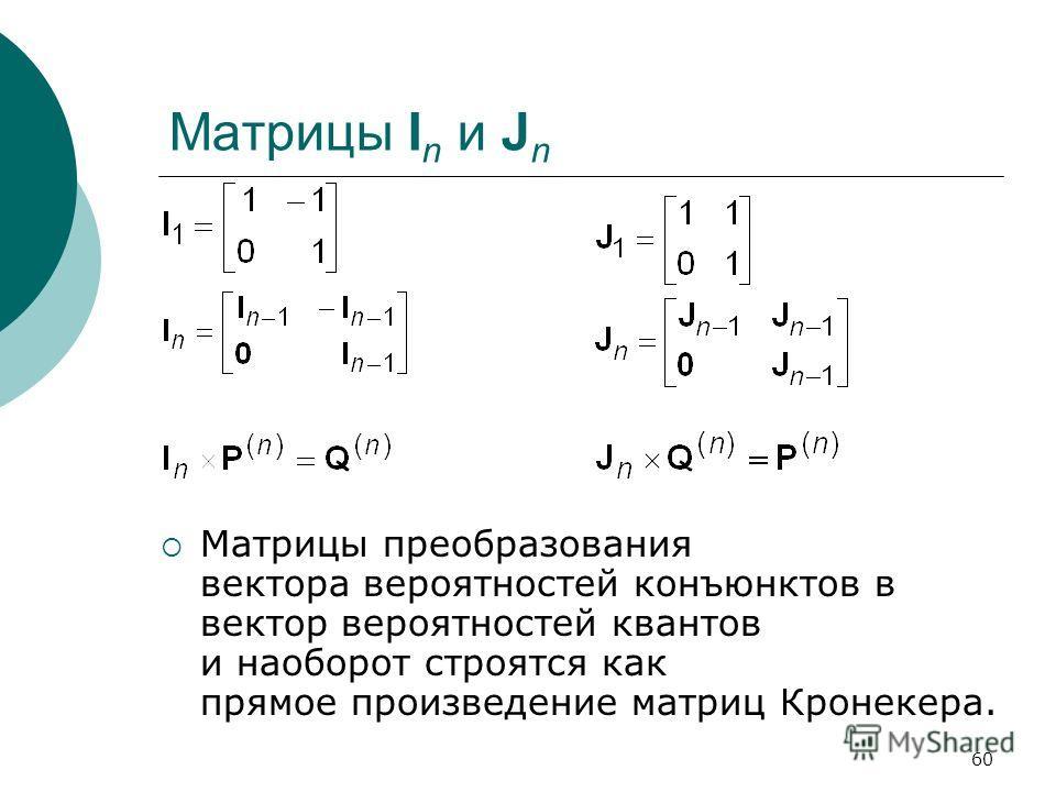 60 Матрицы I n и J n Матрицы преобразования вектора вероятностей конъюнктов в вектор вероятностей квантов и наоборот строятся как прямое произведение матриц Кронекера.