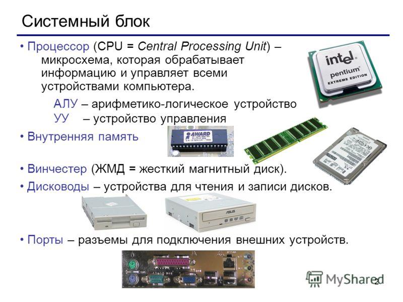 2 Системный блок Процессор (CPU = Central Processing Unit) – микросхема, которая обрабатывает информацию и управляет всеми устройствами компьютера. АЛУ – арифметико-логическое устройство УУ – устройство управления Внутренняя память Винчестер (ЖМД = ж