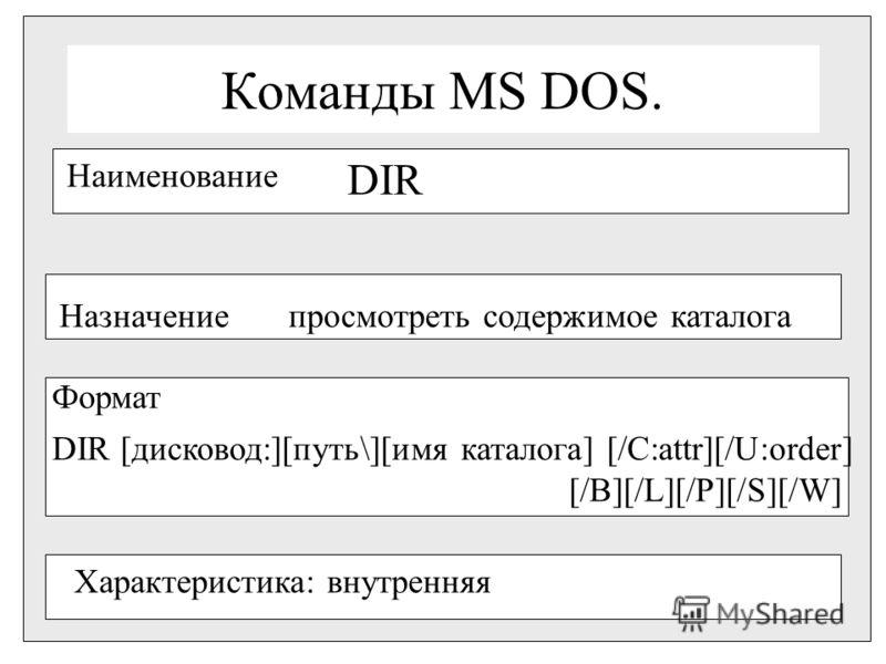 Команды MS DOS. Наименование DIR Назначениепросмотреть содержимое каталога Формат DIR [дисковод:][путь\][имя каталога] [/C:attr][/U:order] [/B][/L][/P][/S][/W] Характеристика: внутренняя