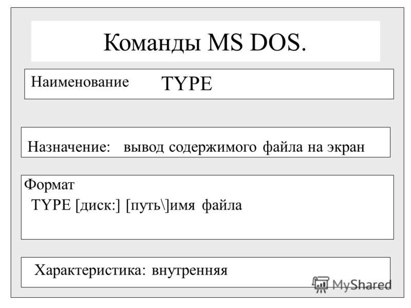 Команды MS DOS. Наименование TYPE Назначение:вывод содержимого файла на экран Формат TYPE [диск:] [путь\]имя файла Характеристика: внутренняя