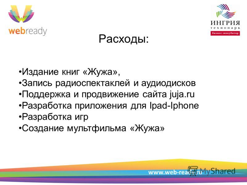 Пример структуры презентации Расходы: www.web-ready.ru Издание книг «Жужа», Запись радиоспектаклей и аудиодисков Поддержка и продвижение сайта juja.ru Разработка приложения для Ipad-Iphone Разработка игр Создание мультфильма «Жужа»