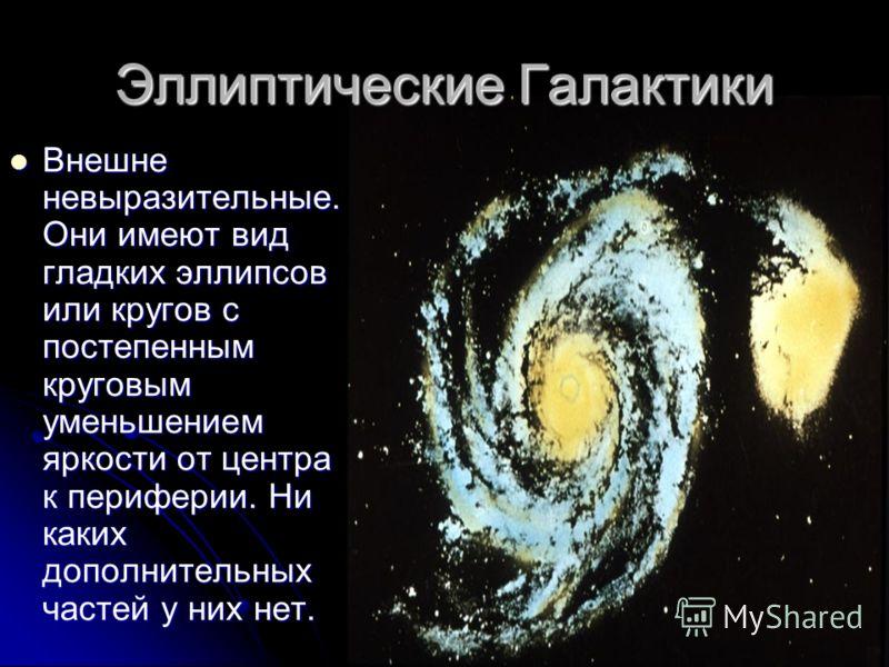Эллиптические Галактики Внешне невыразительные. Они имеют вид гладких эллипсов или кругов с постепенным круговым уменьшением яркости от центра к периферии. Ни каких дополнительных частей у них нет. Внешне невыразительные. Они имеют вид гладких эллипс