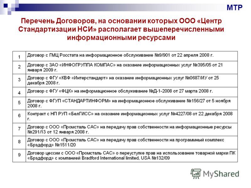 Перечень Договоров, на основании которых ООО «Центр Стандартизации НСИ» располагает вышеперечисленными информационными ресурсами МТР