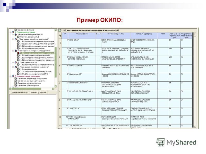 Пример ОКИПО: