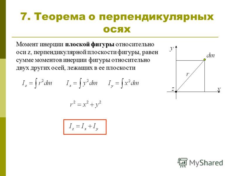 Момент инерции плоской фигуры относительно оси z, перпендикулярной плоскости фигуры, равен сумме моментов инерции фигуры относительно двух других осей, лежащих в ее плоскости 7. Теорема о перпендикулярных осях